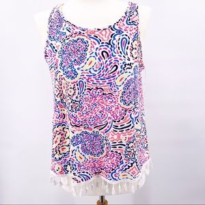Pappagallo Tropical Pink Tank with Fringed Hem